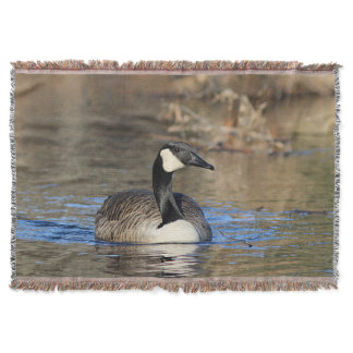 Canada goose swimming throw blanket