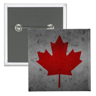 Canada Grunge Flag Canadian Maple Leaf 2 Inch Square Button