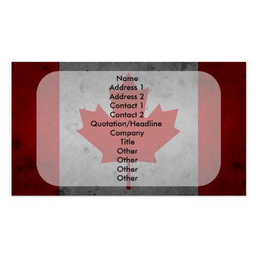Canada Grunge Flag Canadian Maple Leaf Double-Sided Standard Business Cards (Pack Of 100)