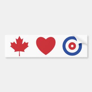 Canada heart curling bumper sticker