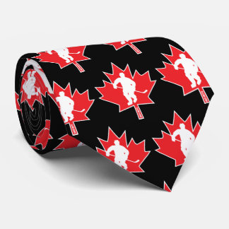 Canada Hockey Maple Leaf Player red on black Neck Tie