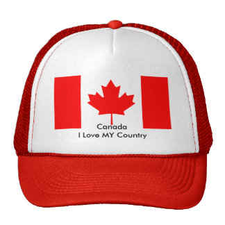Canada I Love MY Country Flag CA Template Mesh Hats
