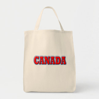 Canada in Bold Red Lettering Grocery Tote Bag