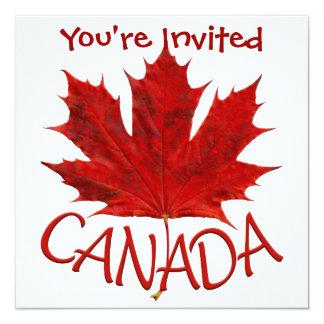 """Canada Invitations Personalized Canada Flag RSVP 5.25"""" Square Invitation Card"""