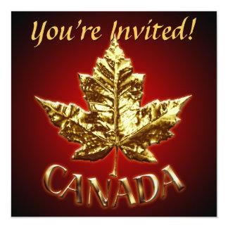 """Canada Invitations Personalized Gold Canada RSVP 5.25"""" Square Invitation Card"""
