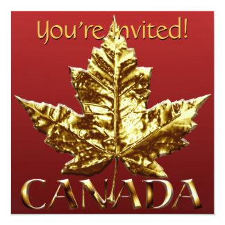 Canada Invitations Personalized Gold Canada RSVP