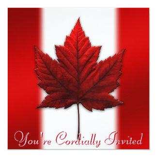 "Canada Invitations Personalized Maple Leaf CN RSVP 5.25"" Square Invitation Card"