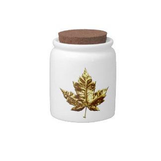 Canada Jar Gold Canada Souvenir Candy Jar