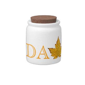 Canada Jar Yellow Canada Souvenir Candy Jar