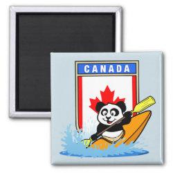 Square Magnet with Canada Kayaking Panda design