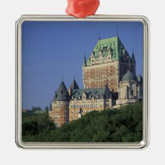 Canadá, la ciudad de Quebec.  Castillo francés Adorno Cuadrado Plateado