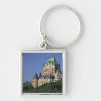 Canadá, la ciudad de Quebec.  Castillo francés Fro Llavero Cuadrado Plateado