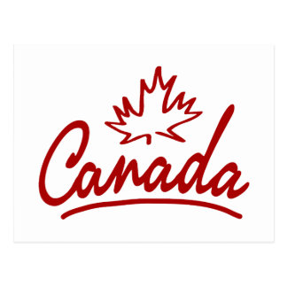 Canada Leaf Script Postcard