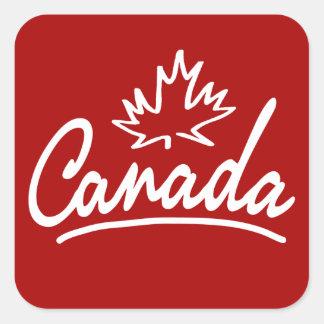 Canada Leaf Script Square Sticker