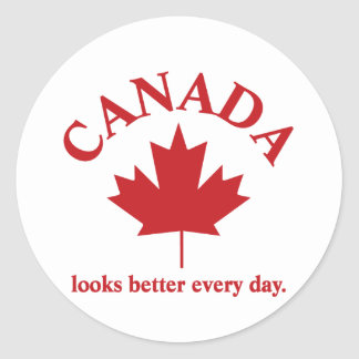 Canada looks better everyday. classic round sticker