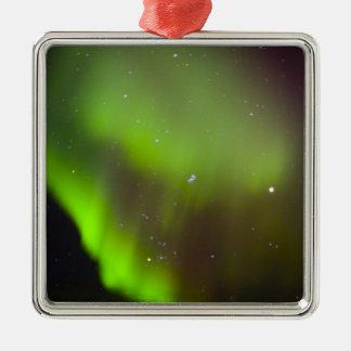 Canada, Manitoba, Churchill. Aurora Borealis in Square Metal Christmas Ornament