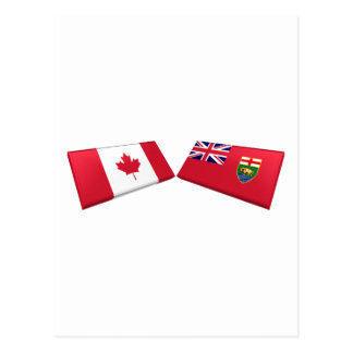 Canada & Manitoba Flag Tiles Postcard