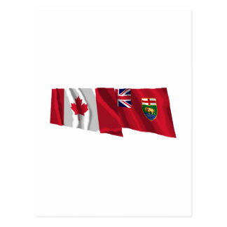 Canada & Manitoba Waving Flags Postcard
