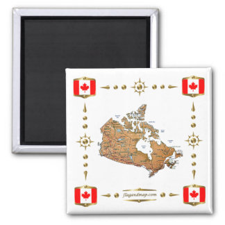 Canada Map + Flags Magnet