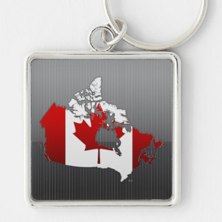 Canada: Map Silver-Colored Square Keychain
