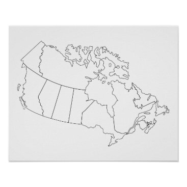 Beach Themed Canada Map Outline Poster