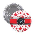 Canada Maple Leaf Abstract Diamond Monogram 1 Inch Round Button