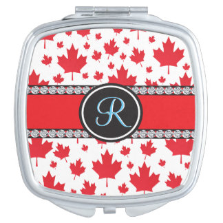 Canada Maple Leaf Abstract Diamond Monogram Mirror For Makeup