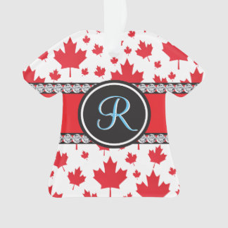 Canada Maple Leaf Abstract Diamond Monogram Ornament