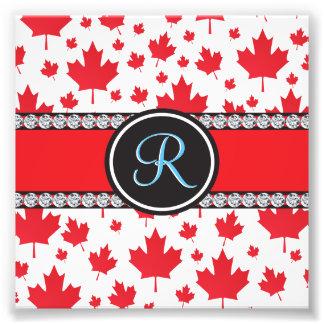 Canada Maple Leaf Abstract Diamond Monogram Photo Print