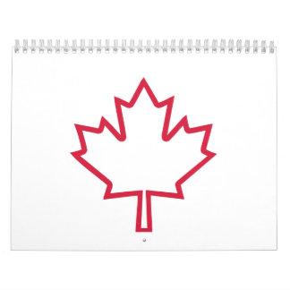 Canada maple leaf calendar