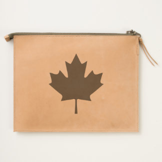 Canada Maple Leaf Leather Travel Pouch