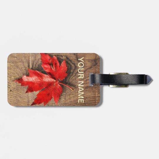 Canada Maple Leaf on Wood Luggage Tag