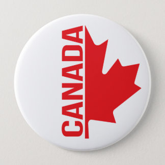 Canada maple leaf red white pin button