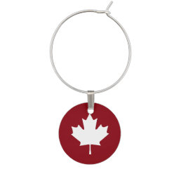 Canada Maple Leaf Wine Charm - Reverse Colors
