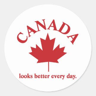 Canadá mira un mejor diario pegatina redonda
