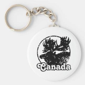 Canada Moose Basic Round Button Keychain