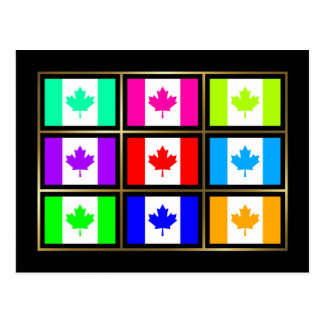 Canada Multihue Flags Postcard