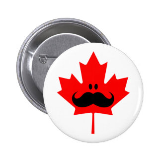 Canada Mustache - A mustache on red maple 2 Inch Round Button