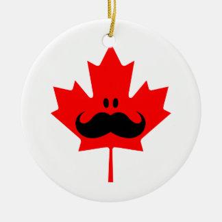 Canada Mustache - A mustache on red maple Ceramic Ornament