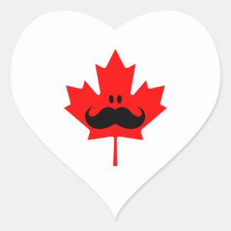 Canada Mustache - A mustache on red maple Heart Sticker