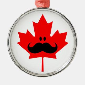 Canada Mustache - A mustache on red maple Metal Ornament