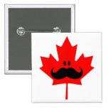 Canada Mustache - A mustache on red maple Pinback Button