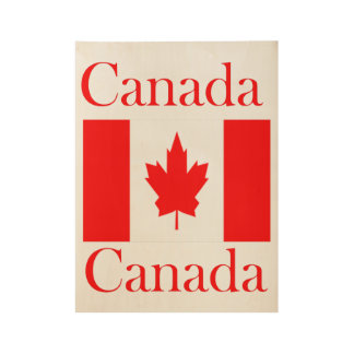 Canada Name Flag Wood Poster