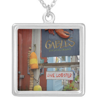 Canada, New Brunswick, St Andrews. Colorful Square Pendant Necklace