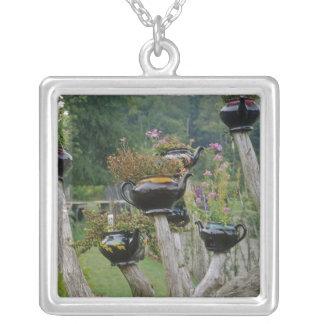 Canada, New Brunswick, St Andrews. Teapots Square Pendant Necklace