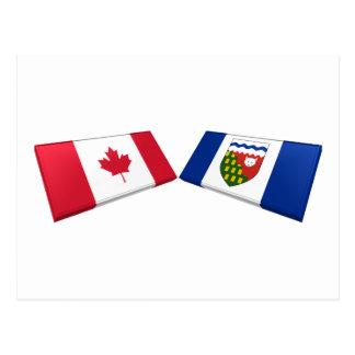 Canada & Northwest Territories Flag TIles Postcard