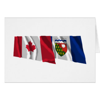 Canada & Northwest Territories Waving Flags Greeting Card
