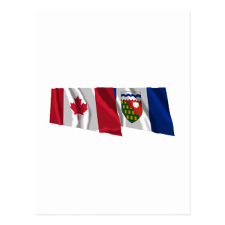 Canada & Northwest Territories Waving Flags Postcard