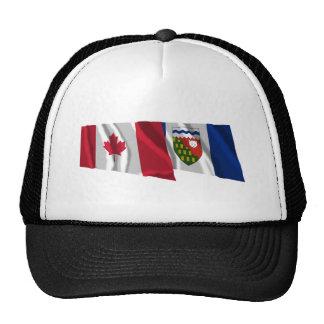 Canada & Northwest Territories Waving Flags Trucker Hat