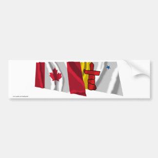 Canada & Nunavut Waving Flags Car Bumper Sticker